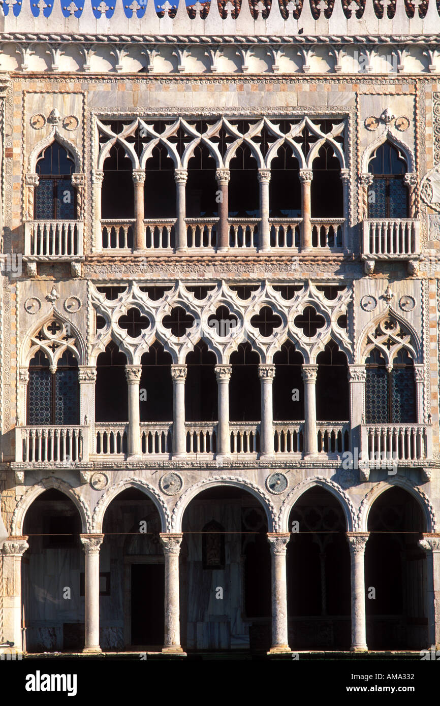 Italy Venice exterior facade of Ca d Oro House of Gold finest example of Venetian  Gothic architecture