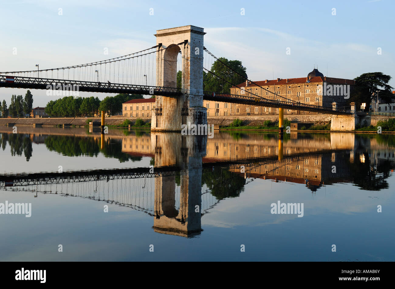 france ardeche rhone valley tournon sur rhone suspension bridge stock photo royalty free. Black Bedroom Furniture Sets. Home Design Ideas