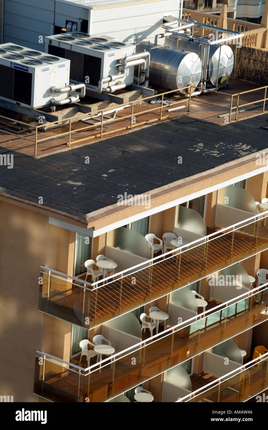 water heating aircon energy power on spanish hotel property roof