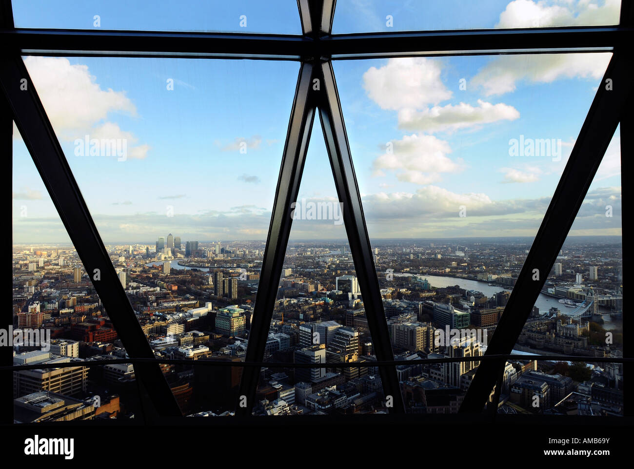 stock photo view of london from the top floor of the gherkin building picture by patrick steel