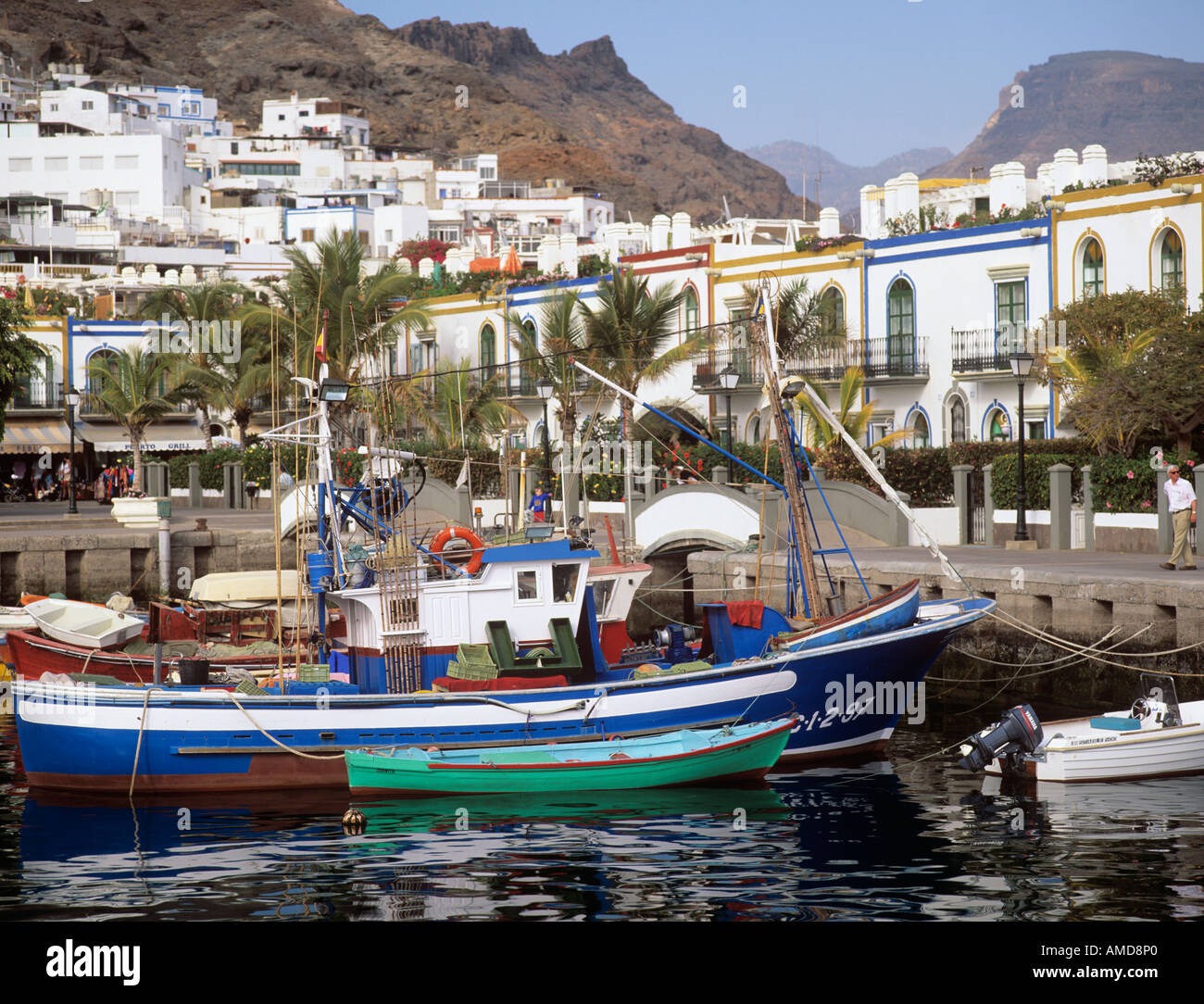Puerto de mogan gran canaria spain small fishing boats - Houses in gran canaria ...