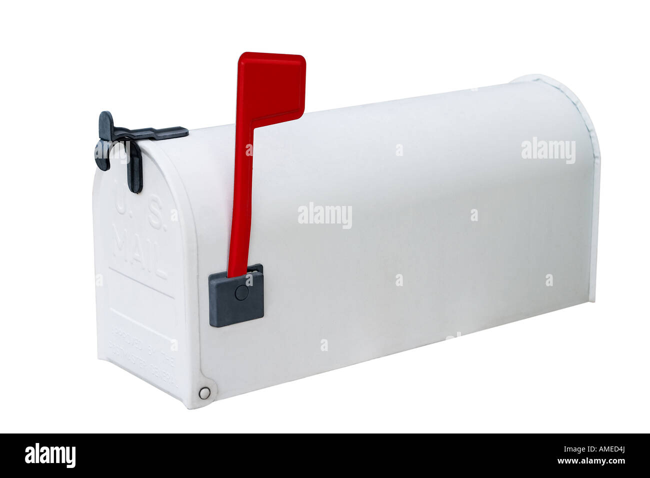White metal mailbox with flag up and door closed Stock Photo