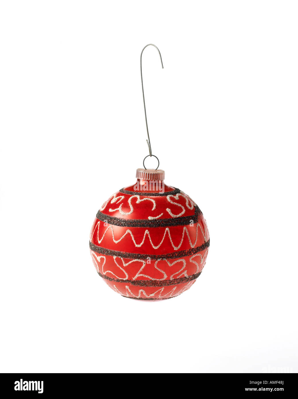 Stock Photo  Red Vintage Christmas Ornament Ball With Gold Glitter Hanging  On Hook