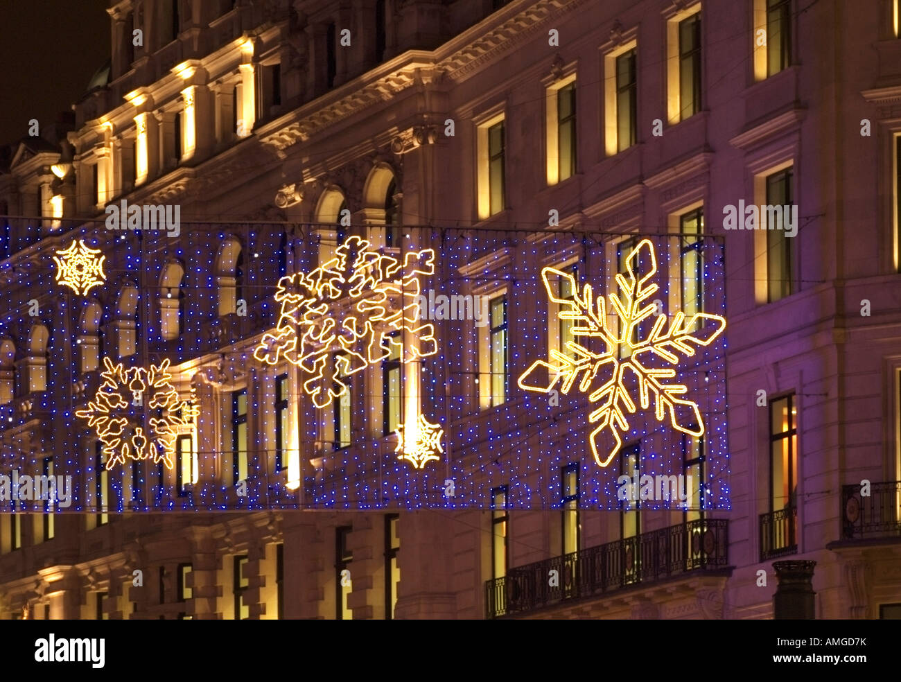 Pretty Christmas lights of snowflake patterns in Regent Street ...