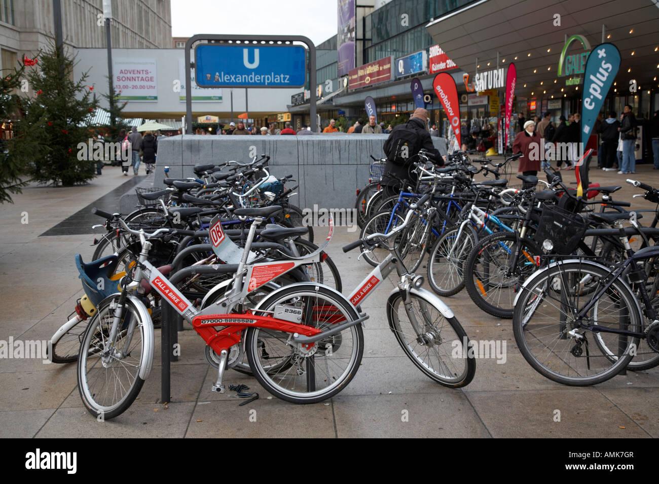 Bicycles Parked And Locked In Bike Park Near Alexanderplatz U Bahn
