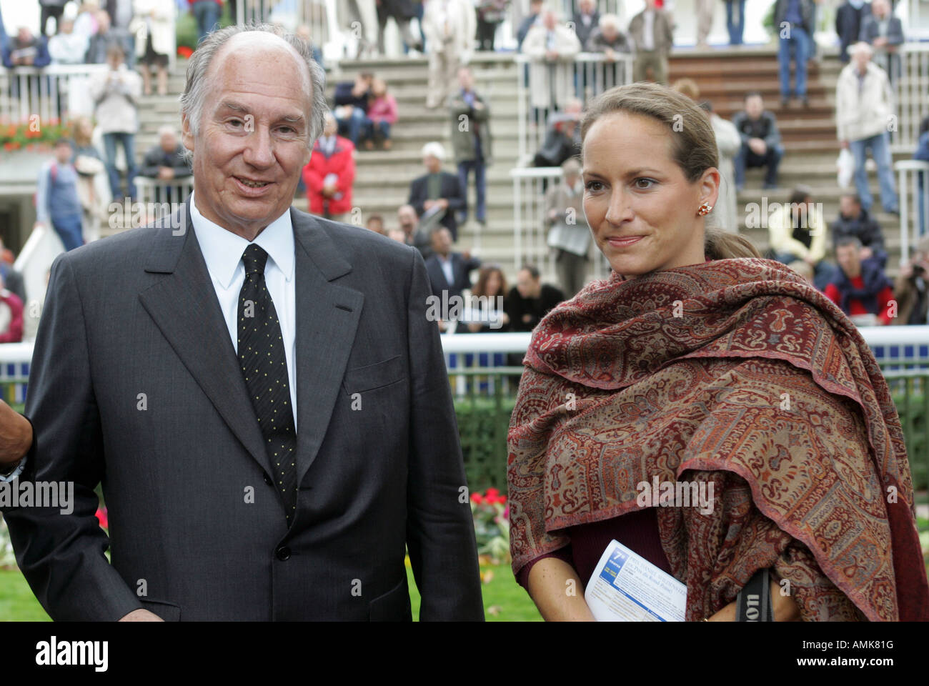 karim aga khan and his daughter princess zarah at longchamp in paris stock photo royalty free. Black Bedroom Furniture Sets. Home Design Ideas