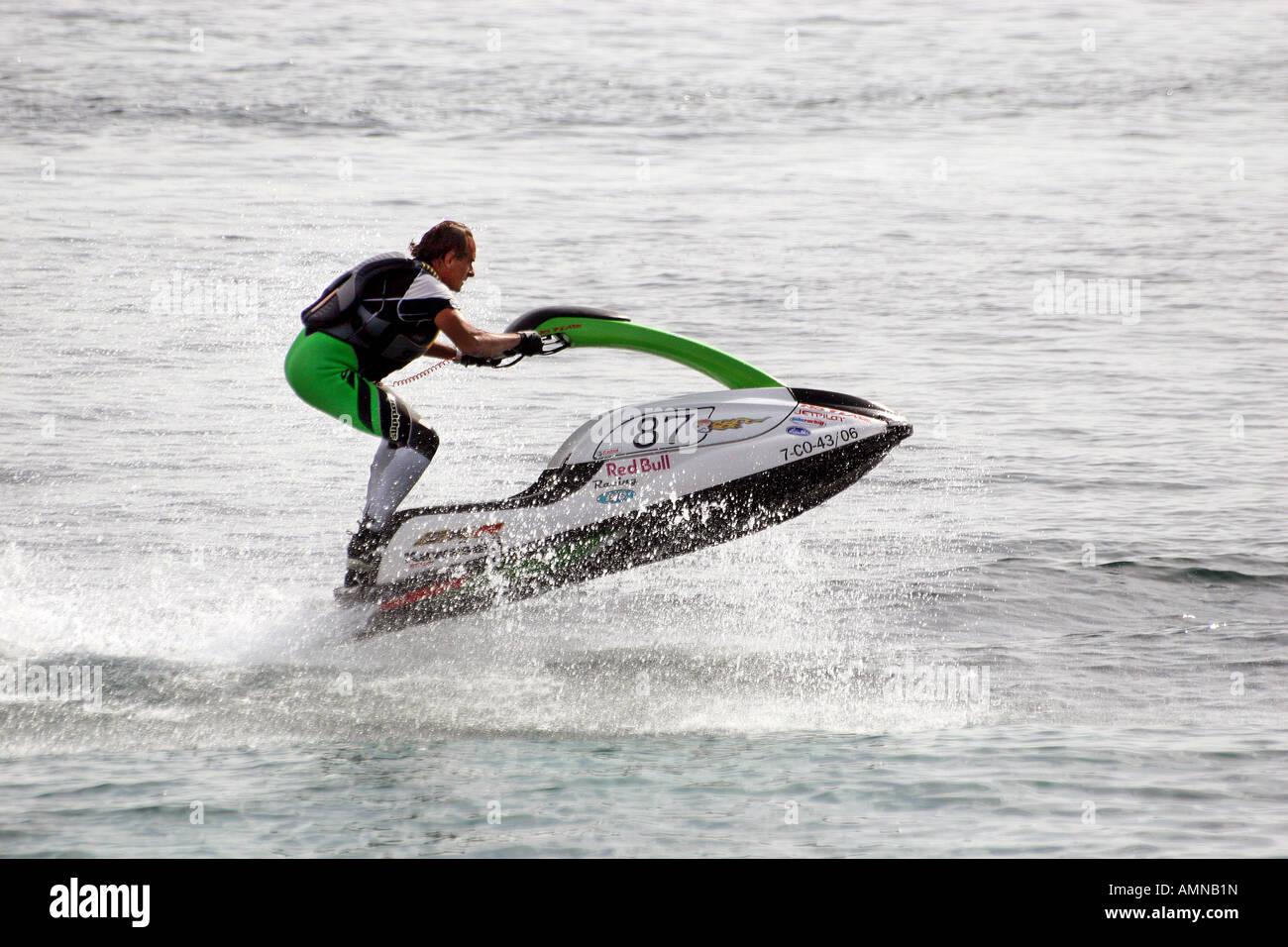 Man At Speed On A Standing Type Water Jet Ski Bike Stock Photo
