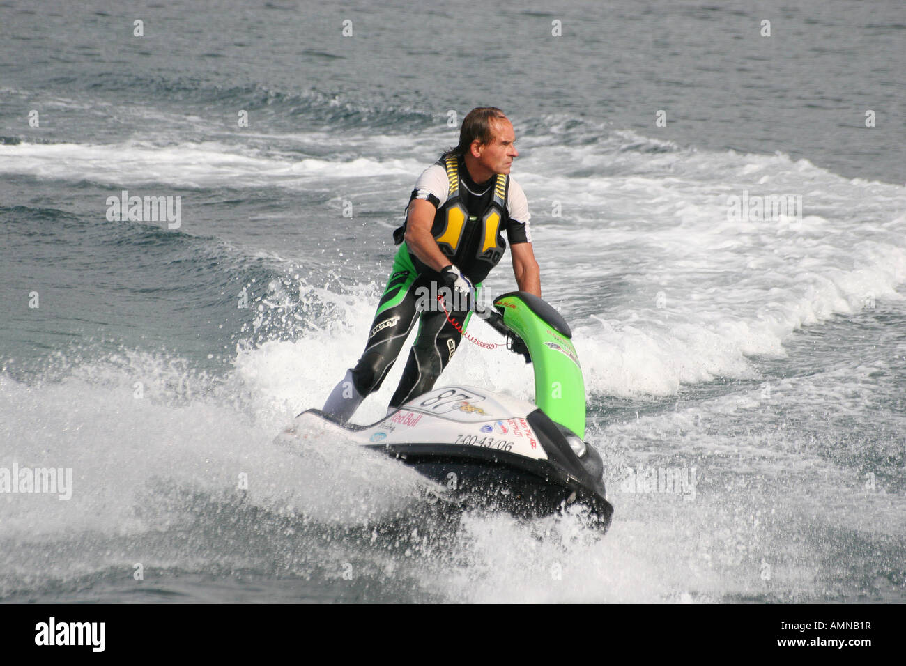 Man At Speed On A Standing Type Water Jet Ski Bike Stock Photo