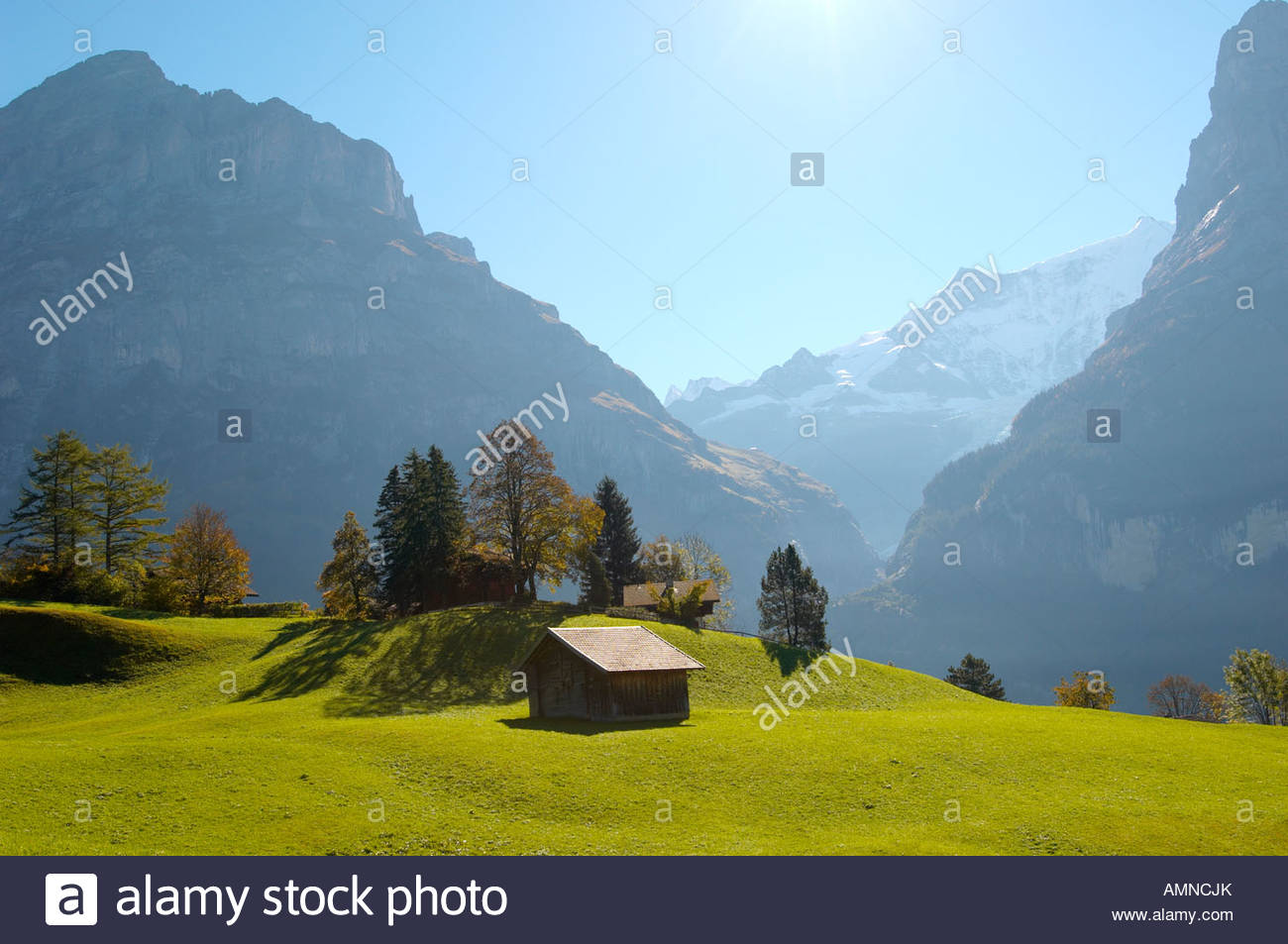 Swiss Mountain House traditional wooden swiss house in alpine pastures with wetterhom