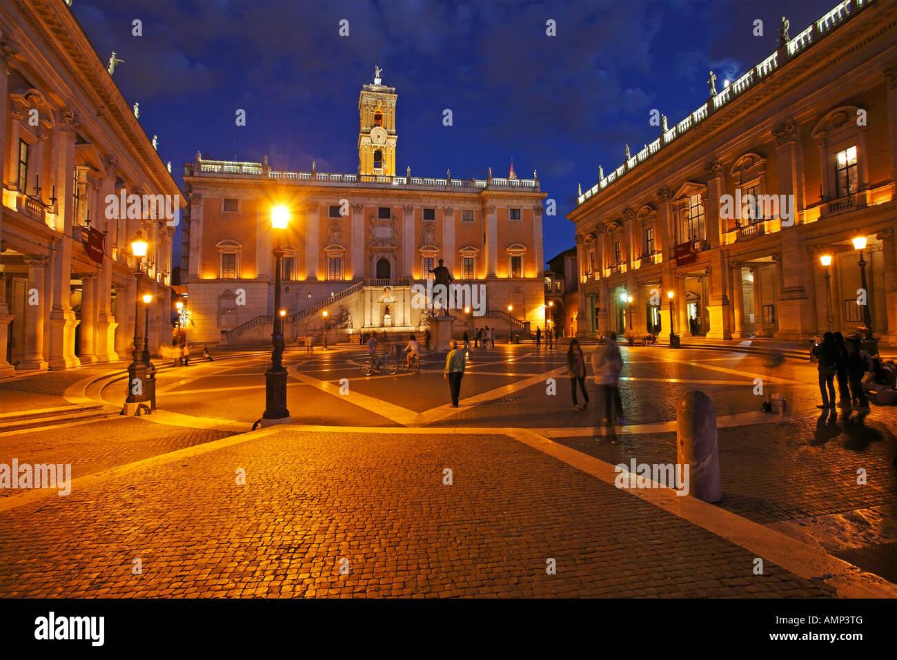 Piazza Del Campidoglio At Night, Capitoline Hill, Rome, Italy