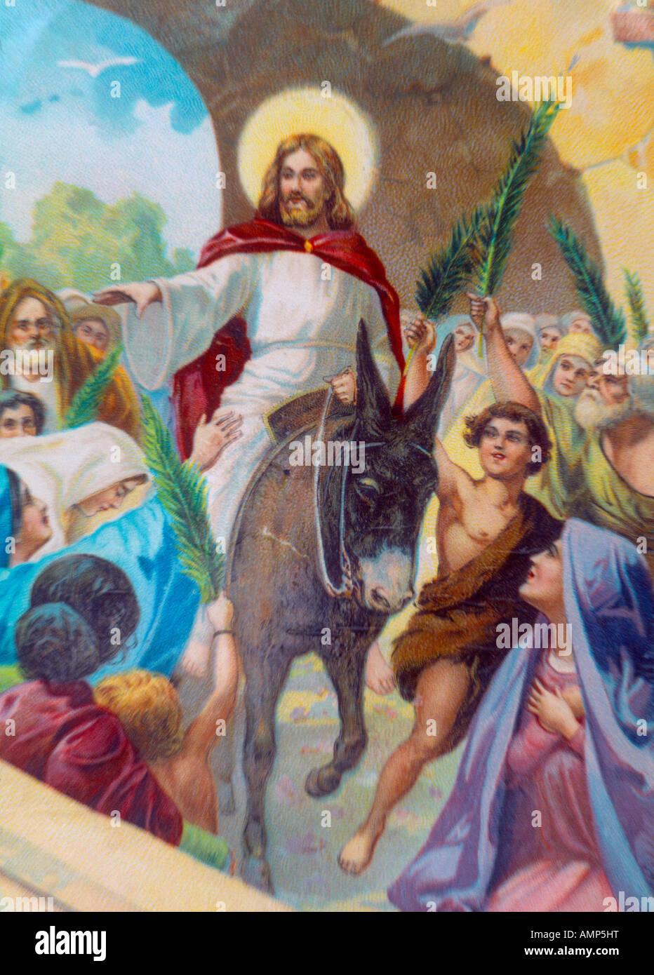 bible story christ on a donkey riding into jerusalem stock photo