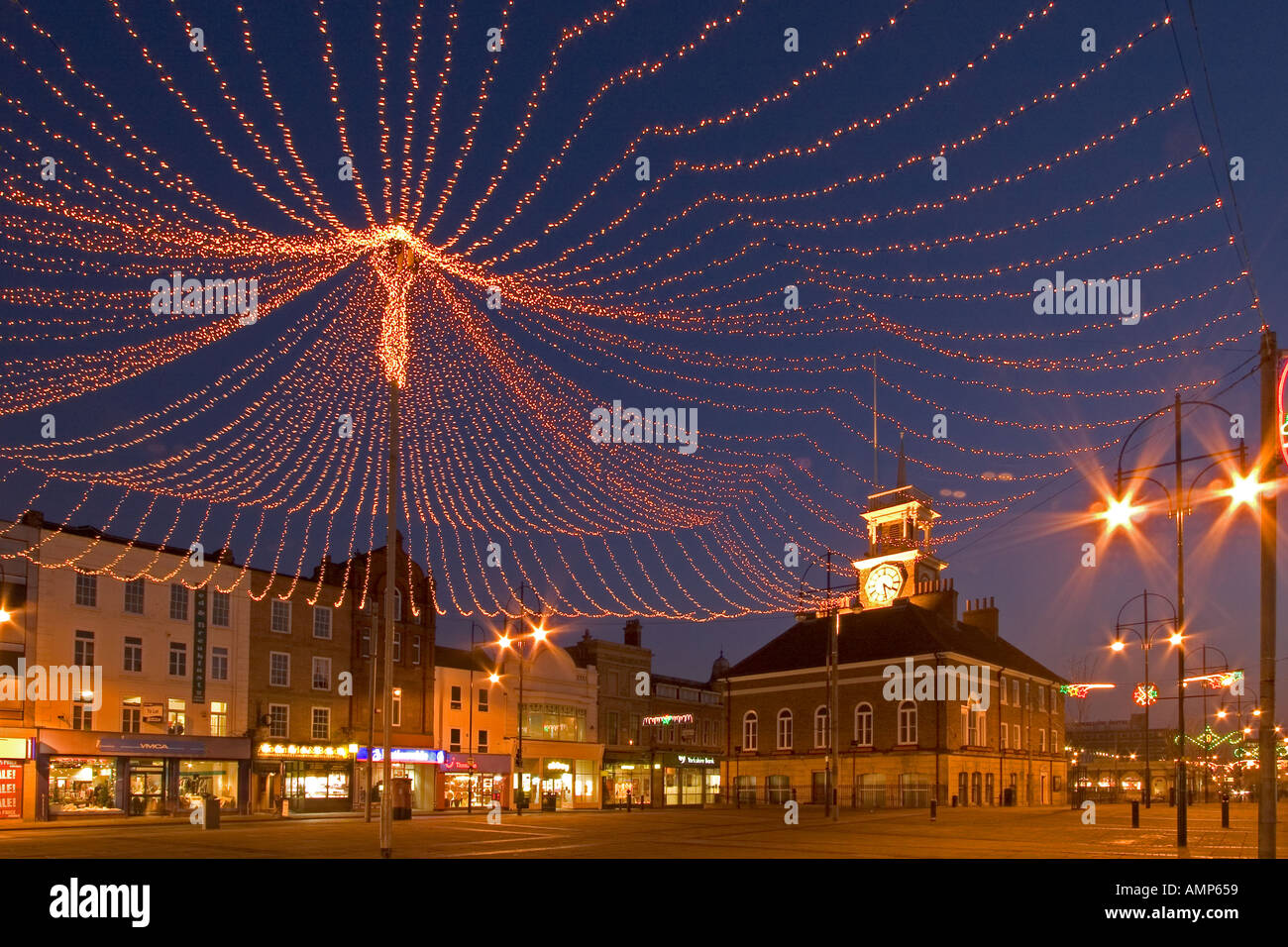 Stock Photo   Stockton On Tees Town Hall And Christmas Lights Stockton  Cleveland England