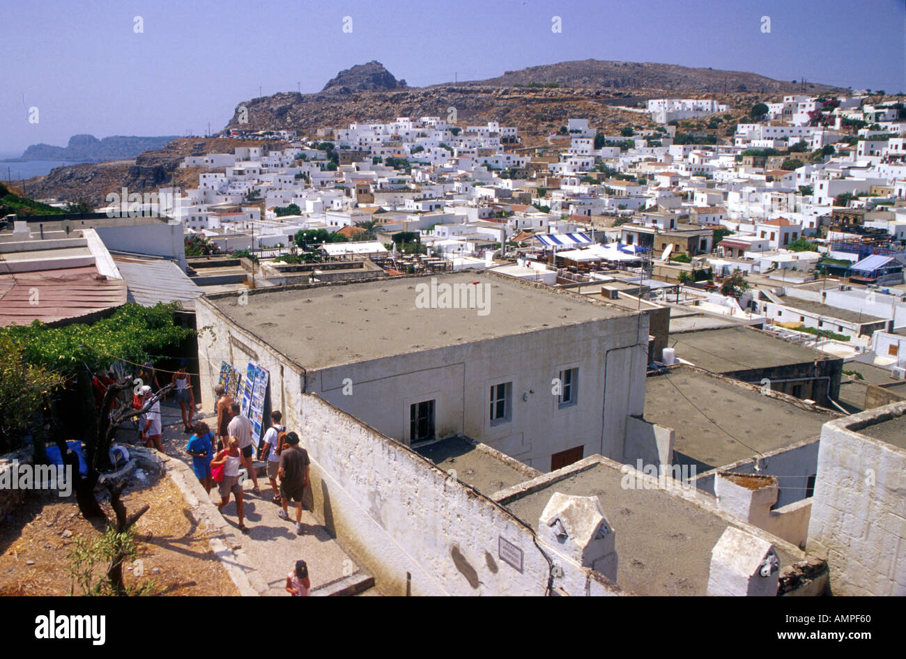 White houses in the village of Lindos on the island of ...