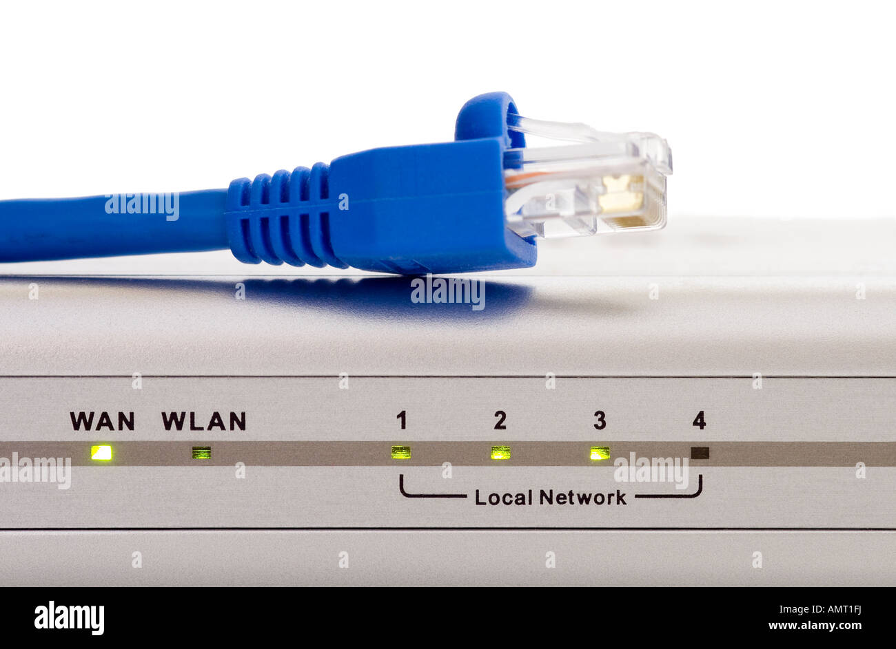 Computer network router status lights with blue Cat 5 cable and