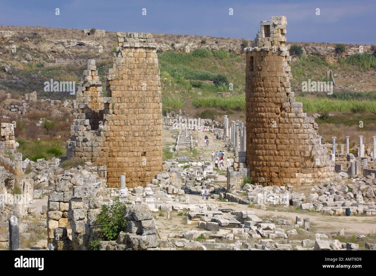 Roman ruins of Perge in Antalya Turkey Stock Photo, Royalty Free Image: 28533...