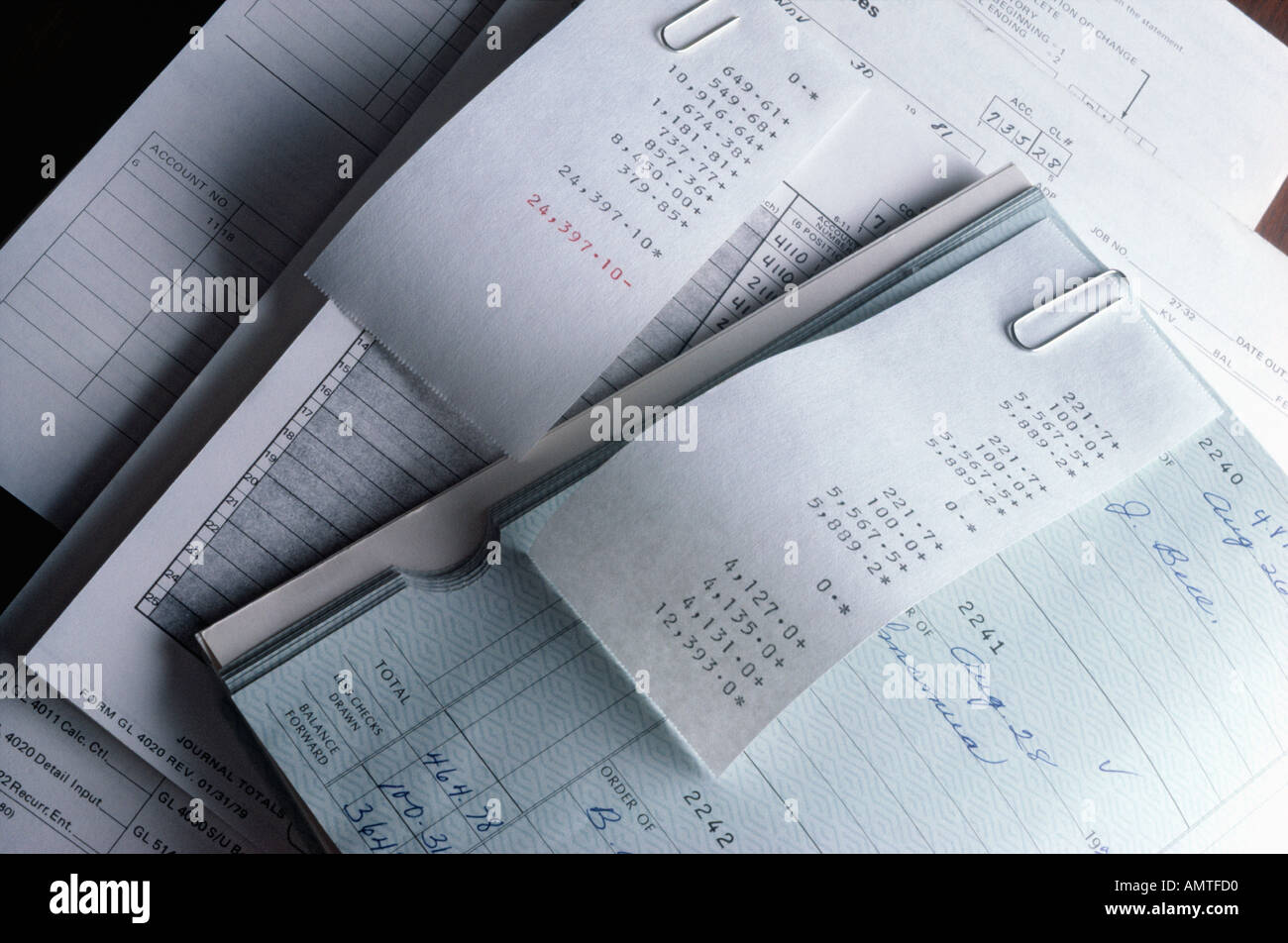 Still life of manual payroll bookkeeping system Stock Photo ...