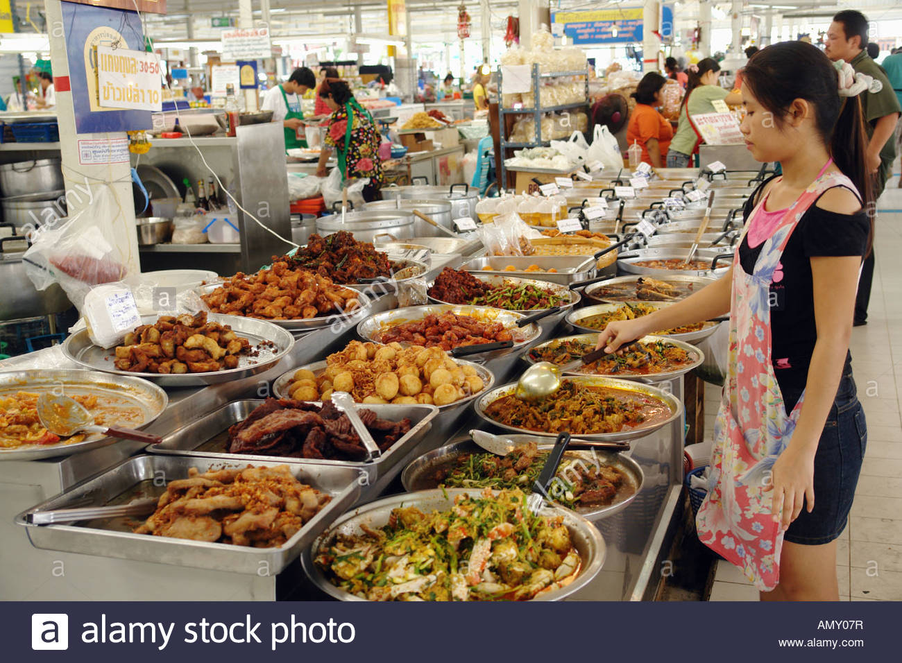 Shopkeeper at food market Chatuchak Weekend Market Bangkok Thailand Stock Pho...