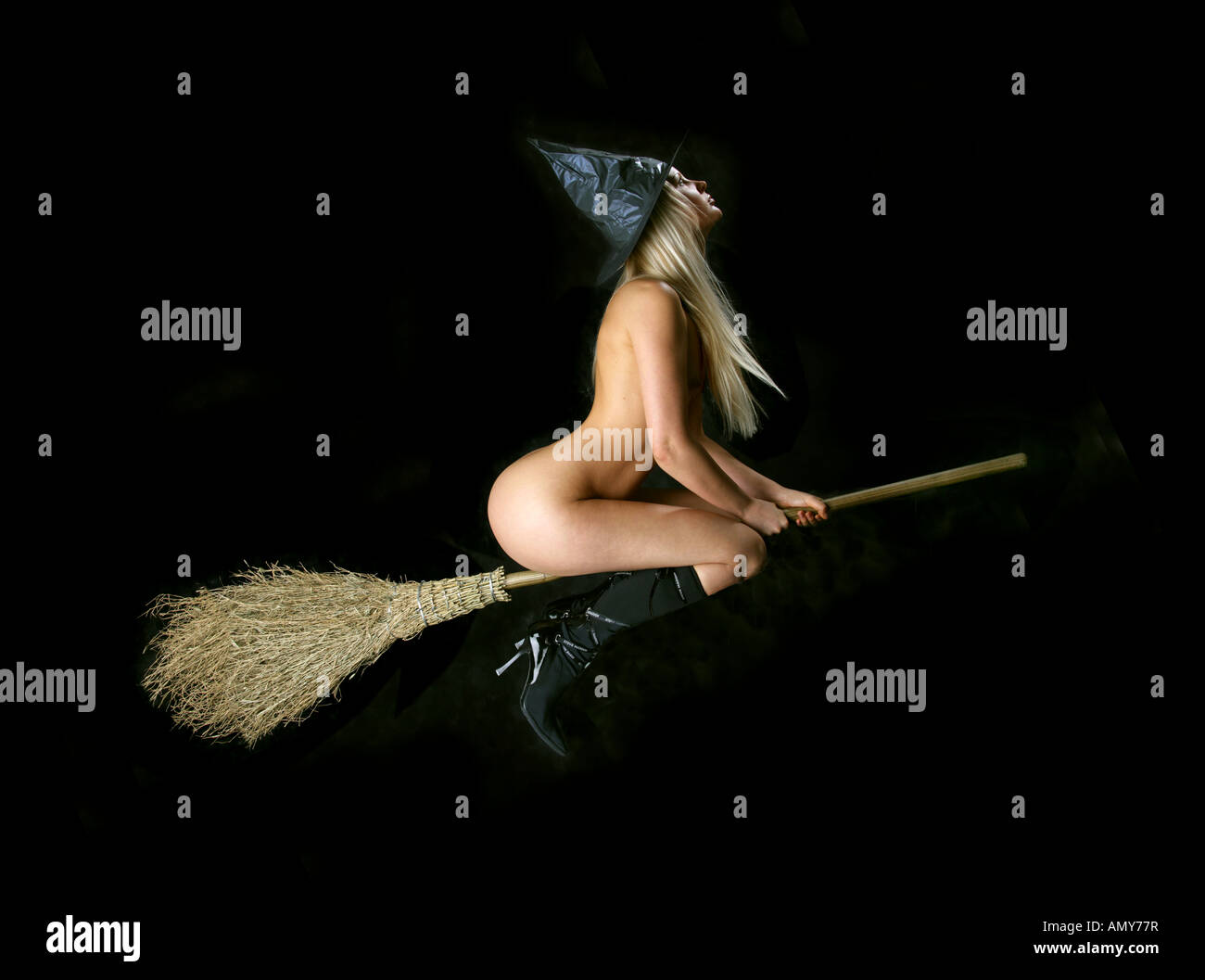 Nude witches and brooms