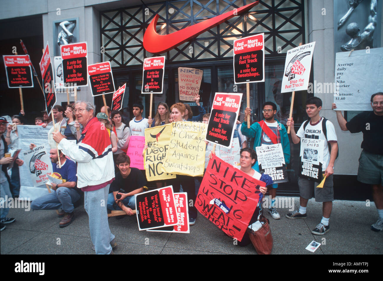 USA, Illinois, Chicago, Labor and Trade protest in front of Nike ...