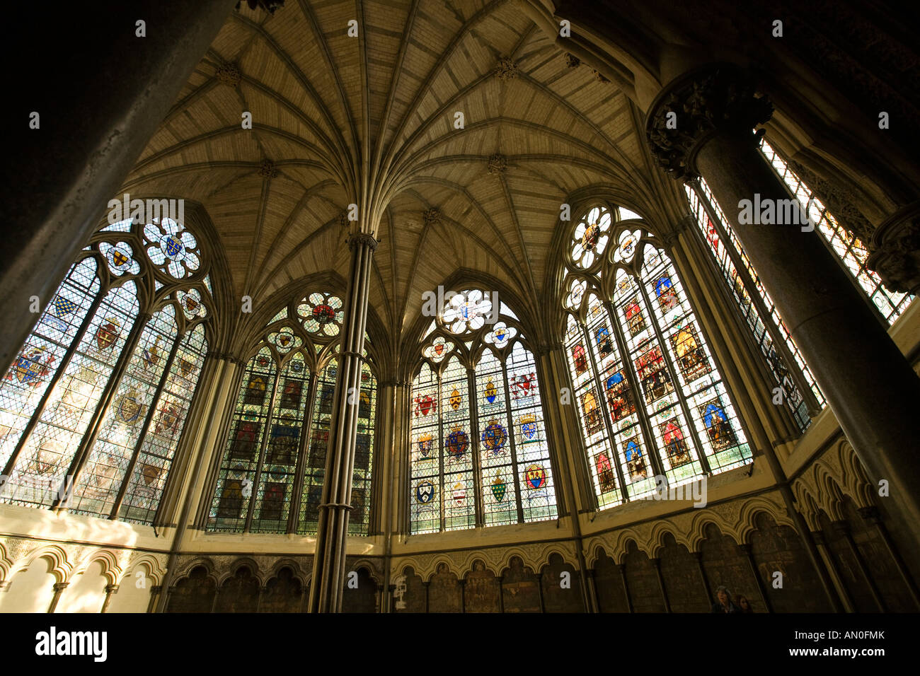 Uk London Westminster Abbey Chapter House Vaulted Ceiling