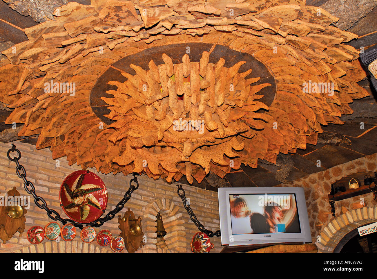 cork decoration in the interior of the restaurant meson el corcho