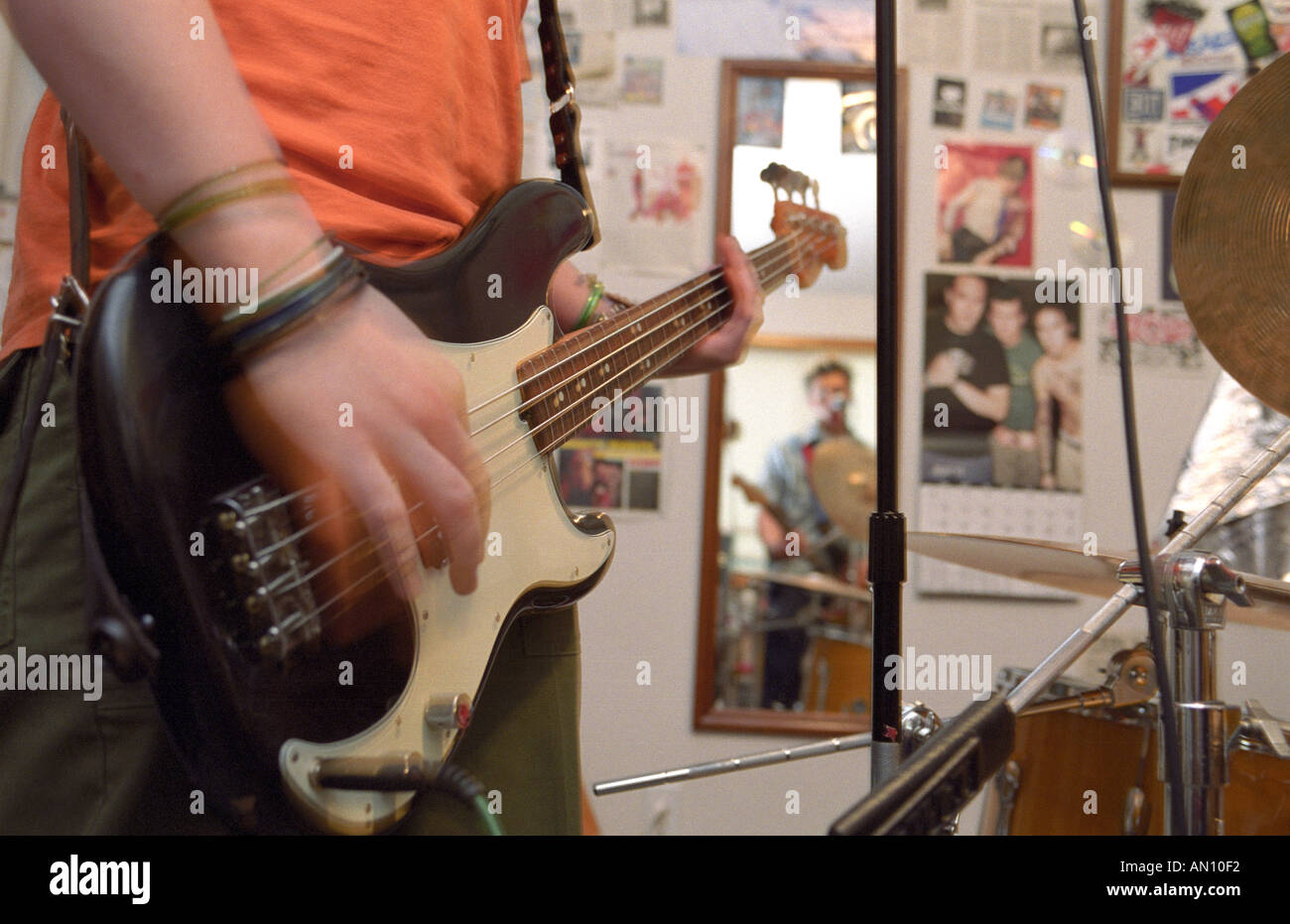 Punk Rock Bedroom High School Punk Rock Band 36drive Practices In Bedroom Stock