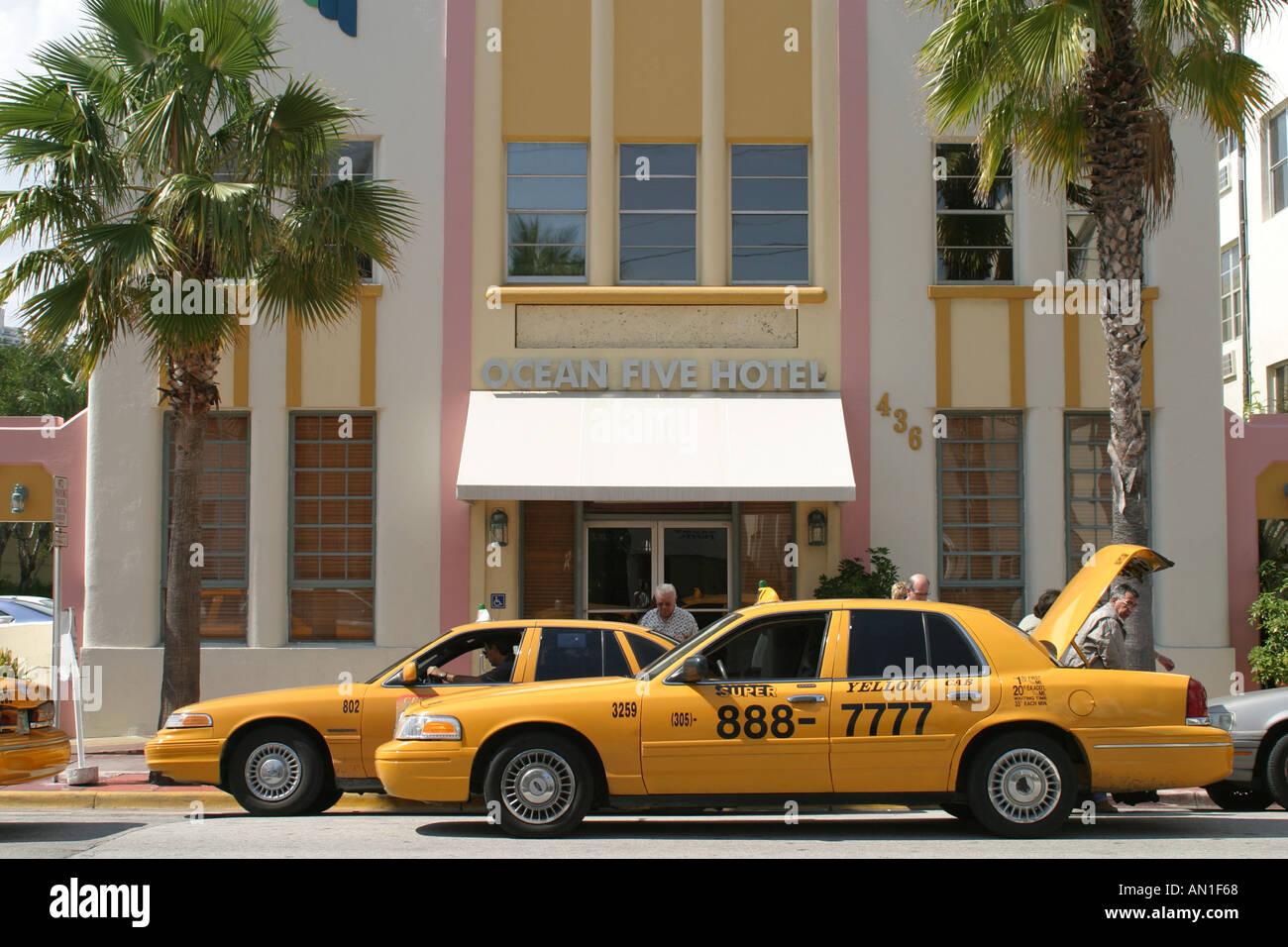 Miami Beach Florida South Beach Ocean Drive Ocean Five Hotel Taxis
