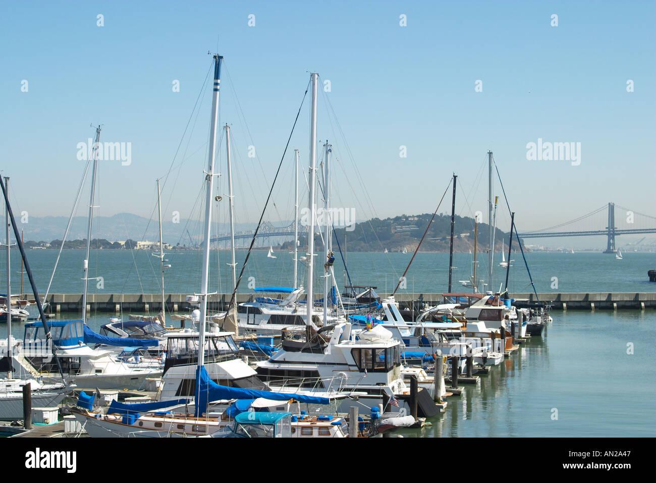 California san francisco boats moored at docks near pier for Fishing docks near me