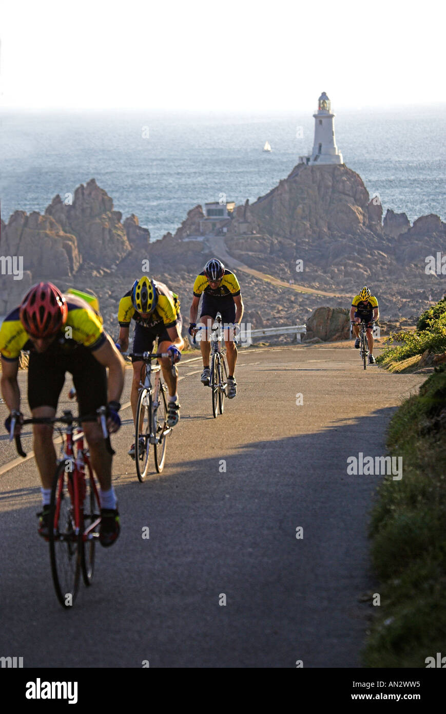 Great Britain Uk Gb Road Race Corbiere With Corbiere Lighthouse In