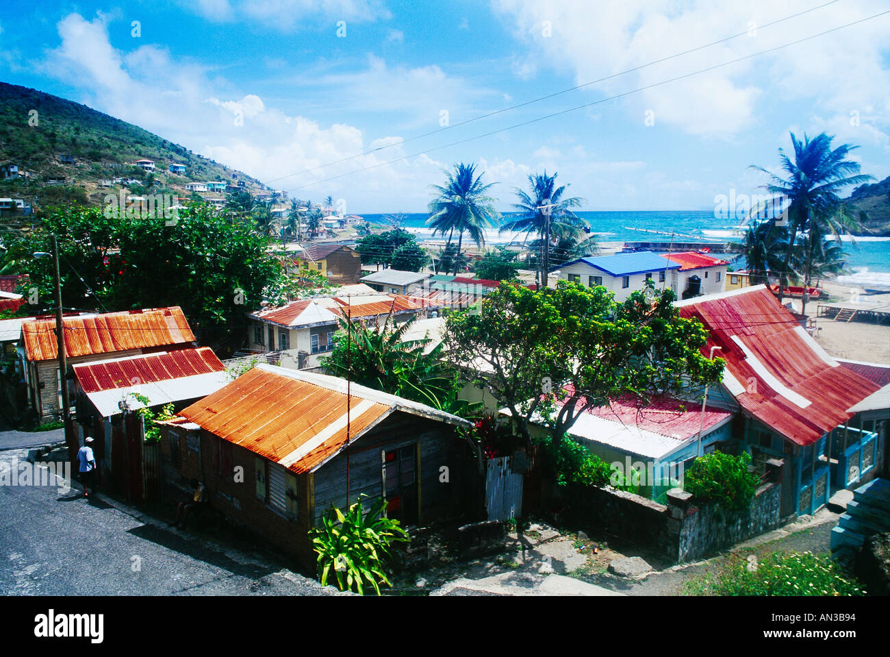 Dennery Village St Lucia Houses Corragated Tin Roofs Stock