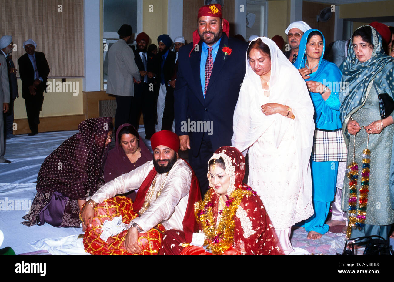 Shepherds Bush London Sikh Gurdwara Wedding Bride Groom Receiving Money Gifts From Guests