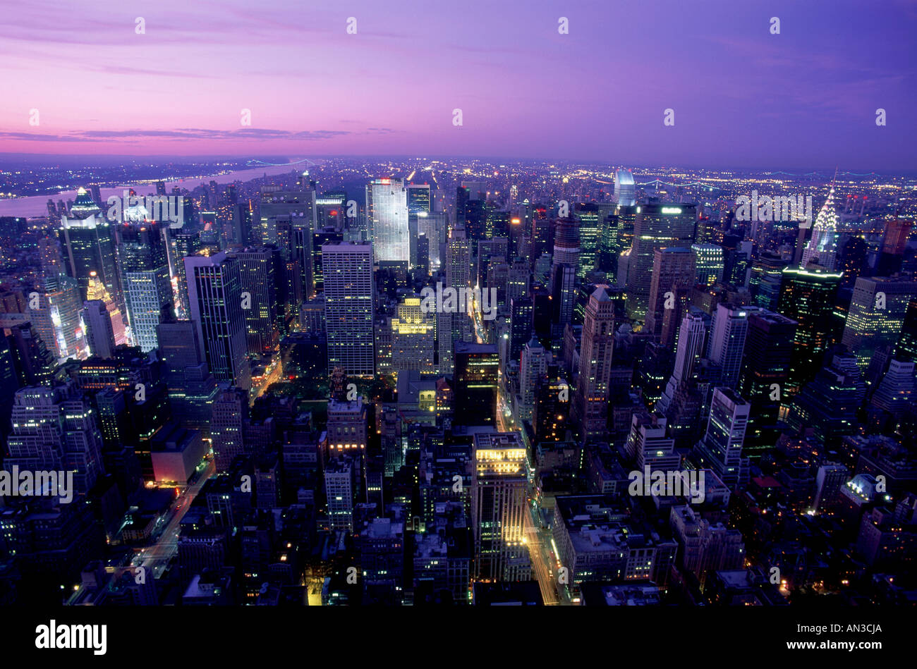 manhatten city skyline night view view from empire. Black Bedroom Furniture Sets. Home Design Ideas