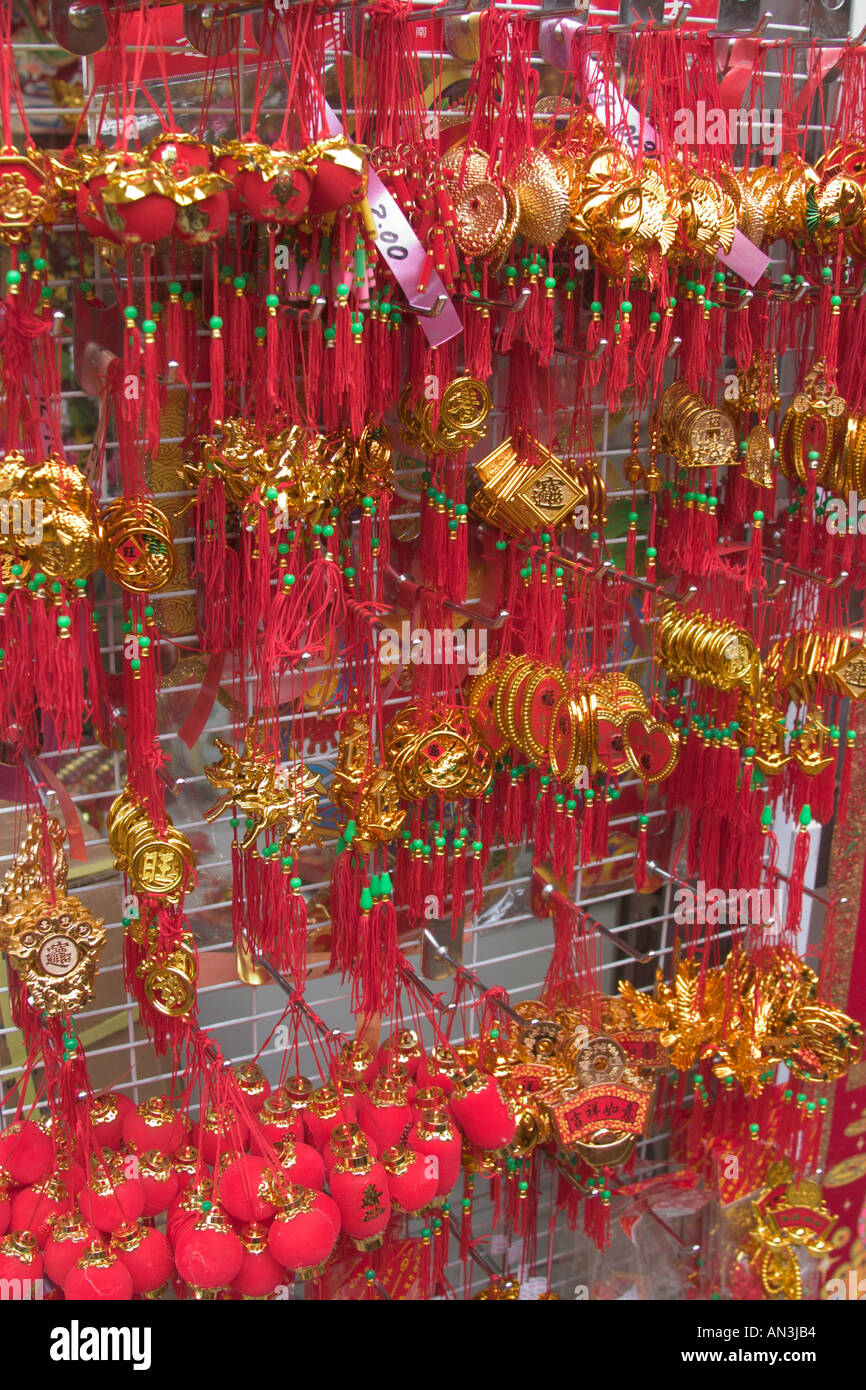 Stock Photo   Stall Display Of Small Decorative Items For Chinese New Year  Decorations