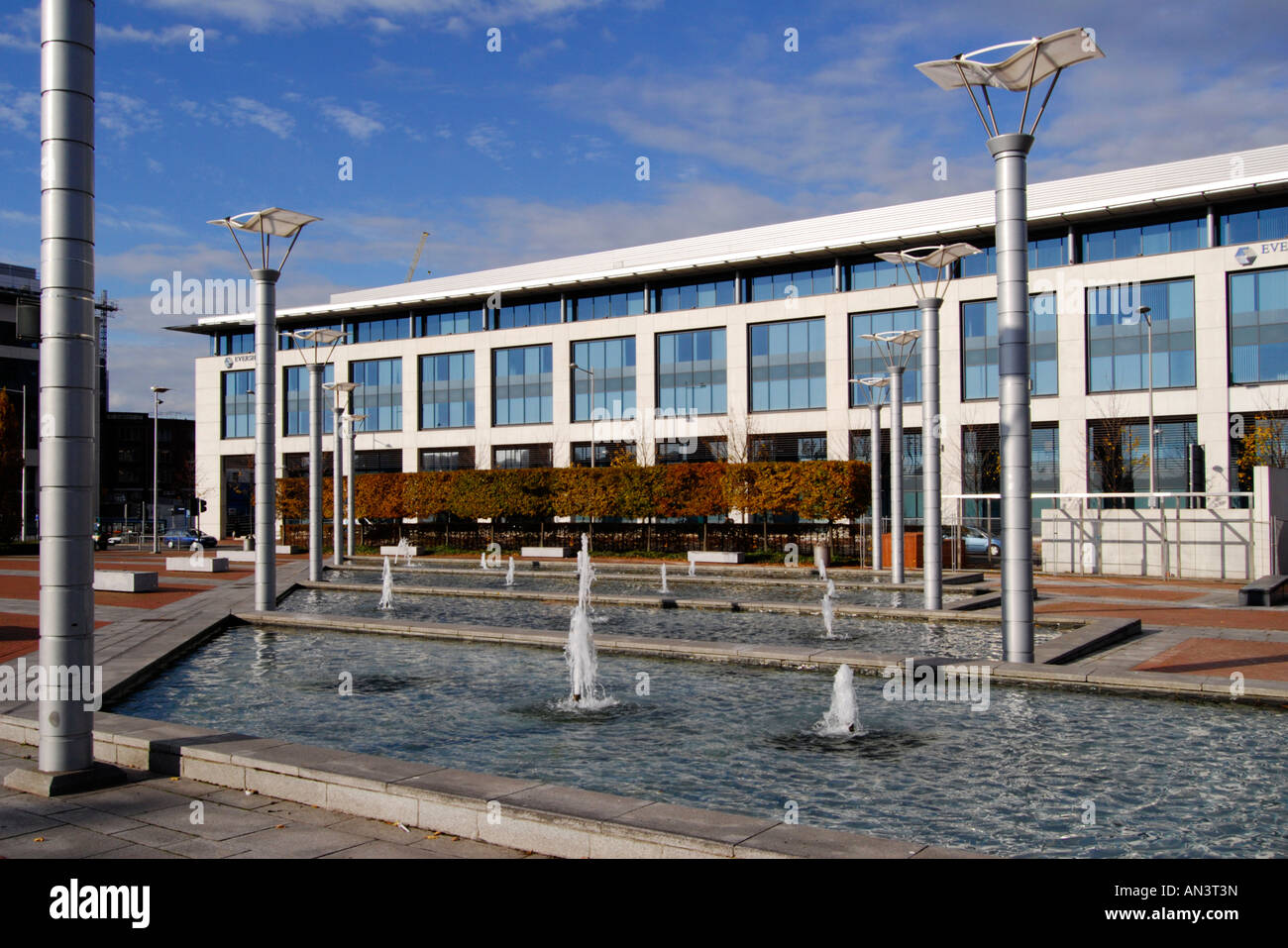 Stock Photo   Office Building And Water Features Fountains