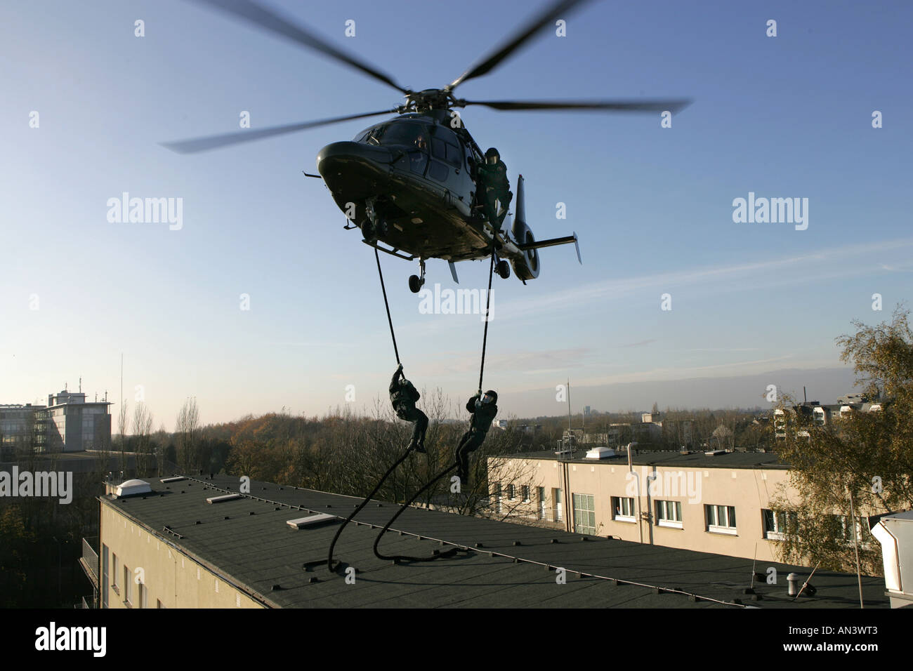 O Swat Team Of German Police Special Forces At A Abseiling