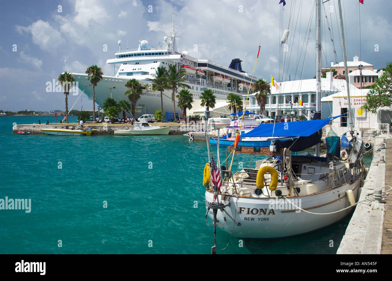 St Georges Bermuda Port And Waterfront With Norwegian Sea Cruise - Bermuda cruise ship