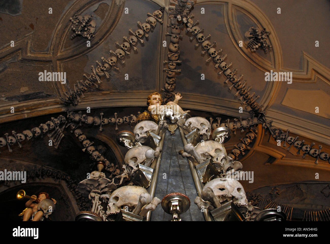 Chandelier made of human bones and skulls at the charnel house or chandelier made of human bones and skulls at the charnel house or ossuary kostnice bone chapel in kutna hora czech republic aloadofball Image collections