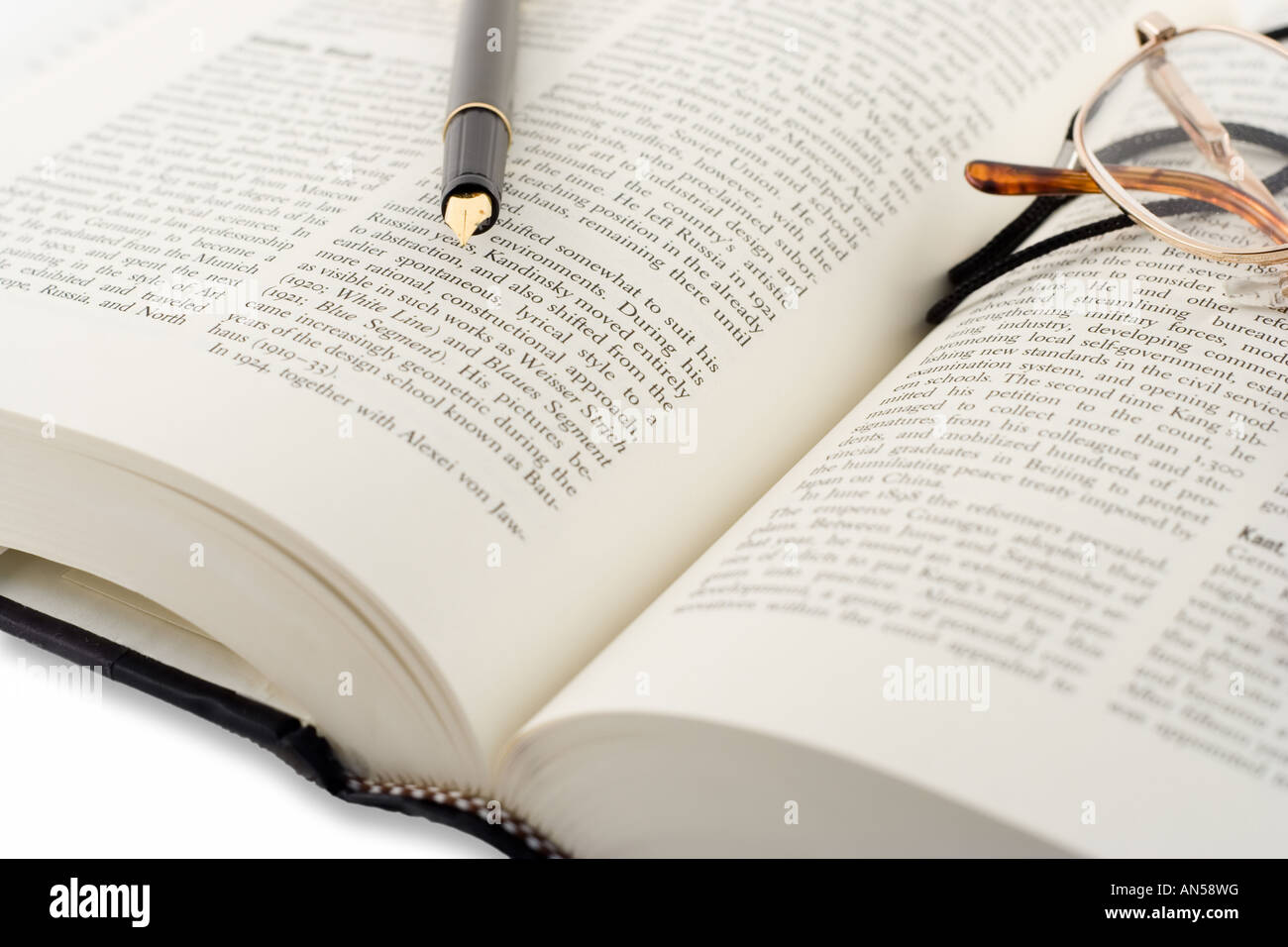 Open Book Glasses And A Pen Stock Photo, Royalty Free
