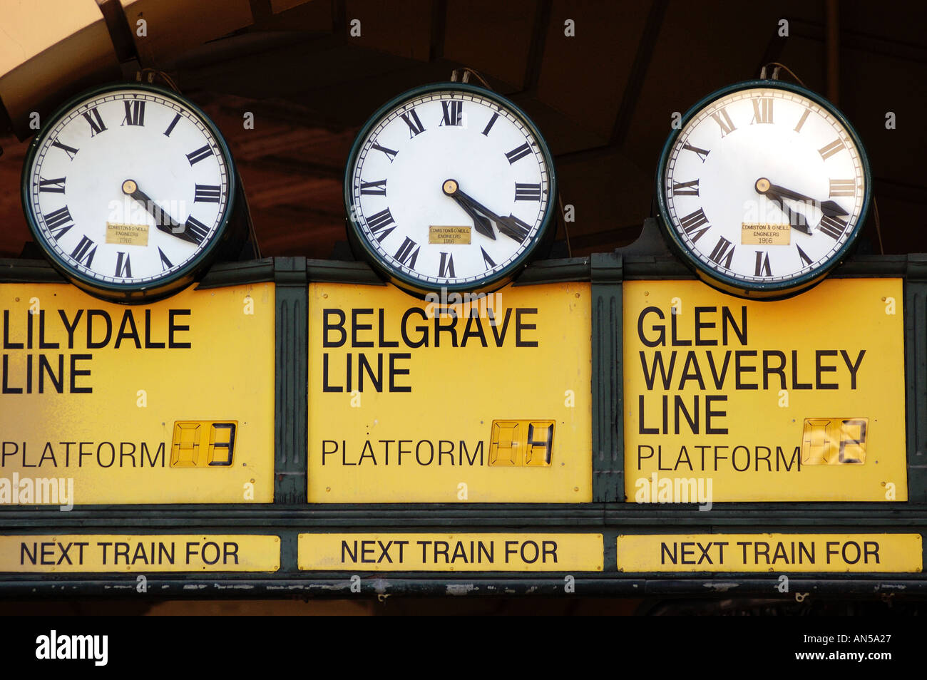 Australia melbourne clocks stock photos australia melbourne old clocks at entrance to flinders street railway station in melbourne australia 2006 stock image amipublicfo Image collections
