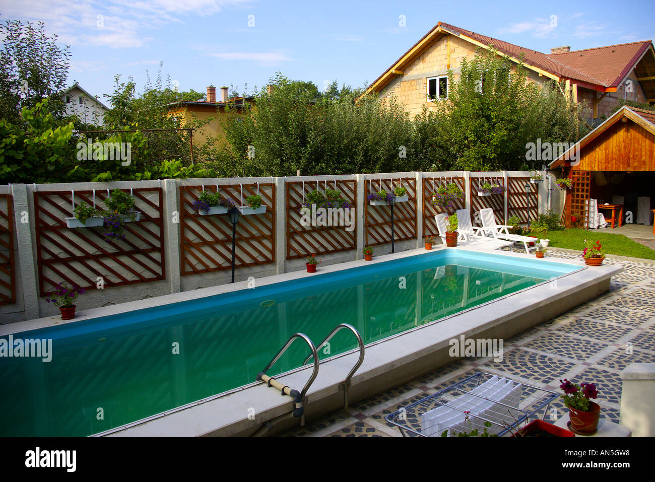 Well managed swimming pool at casa moraru a nice clean private hotel stock photo royalty free for Nice hotels with swimming pool