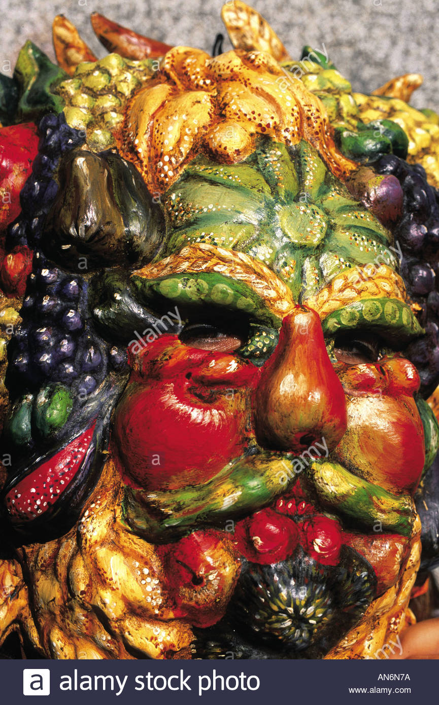 italy venice scultpure of man made out of fruit and vegetables