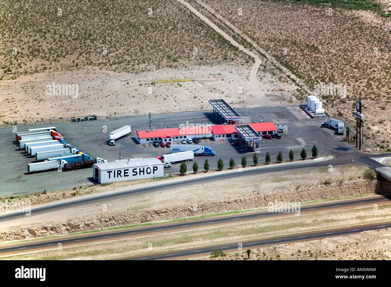 aerial view above tire shop truck texaco on interstate i 10 in texas gas station