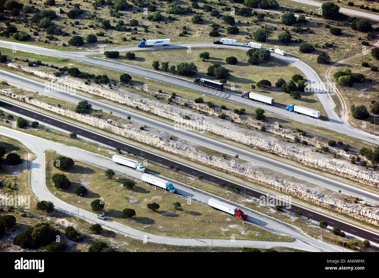 Stock photo aerial view above truck stop on interstate 10 i 10 texas