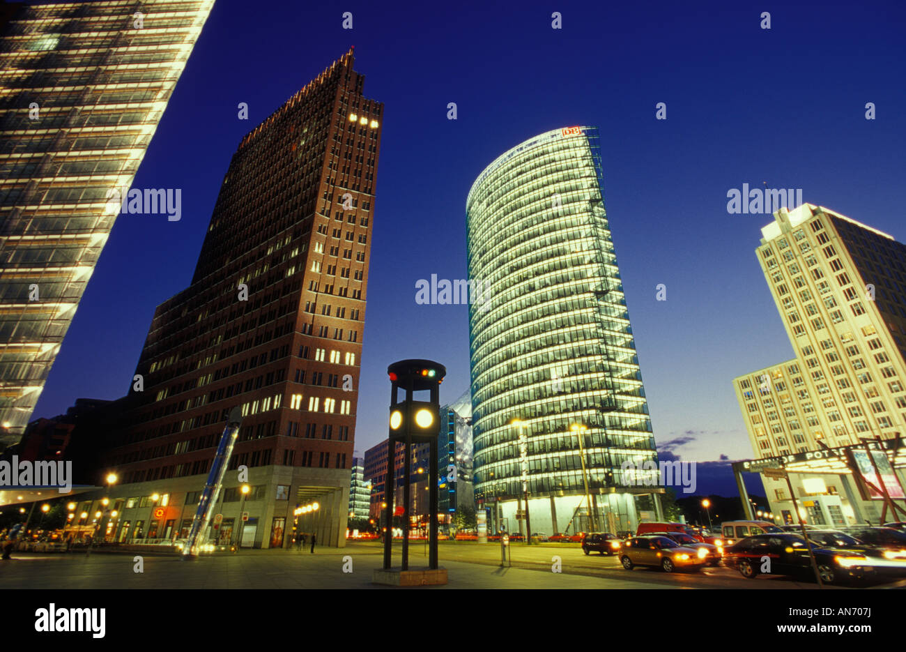 High rise buildings at potsdamer platz by night office for Carports berlin