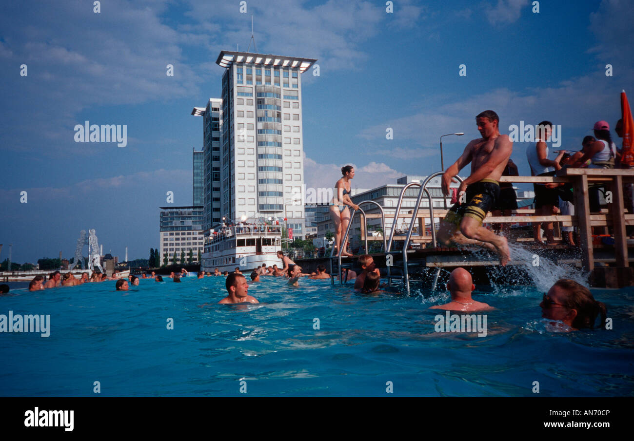 berlin badeschiff an der arena in treptow a swimming pool in the stock photo royalty free. Black Bedroom Furniture Sets. Home Design Ideas