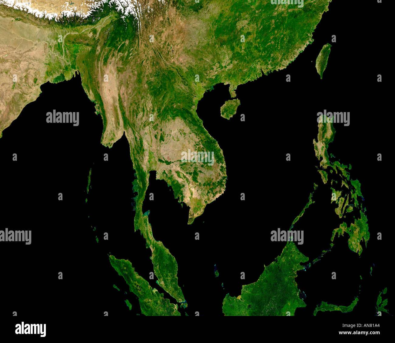 South East Asia A Satellite View Vietnam Cambodia Laos Etc Stock - Asia satellite map