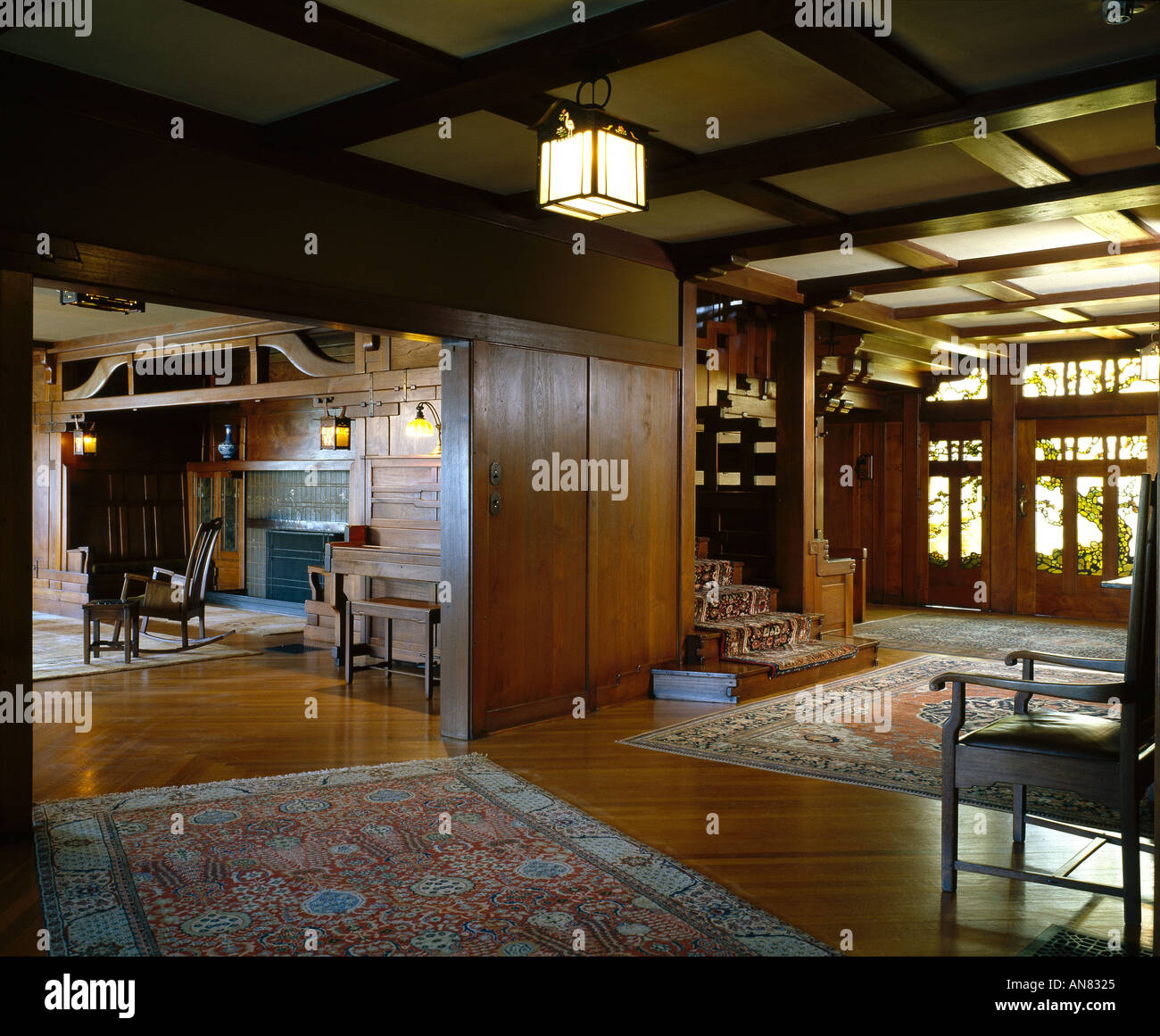 Stock Photo   The David B. Gamble House, Pasadena, California, 1908 9. The  Hall. Architect: Greene And Greene Part 47