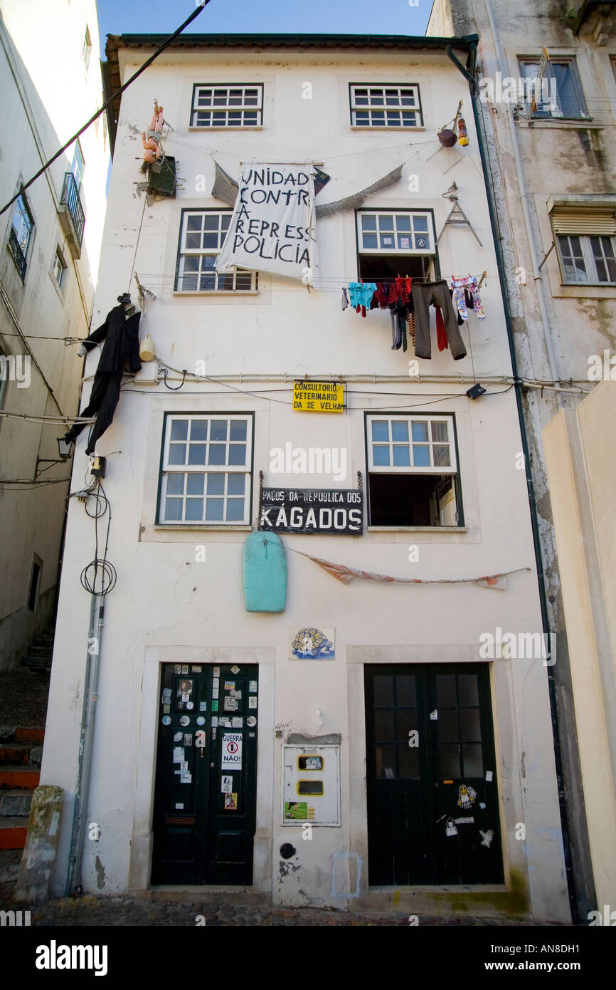 COIMBRA PORTUGAL Political signs on student apartment building ...