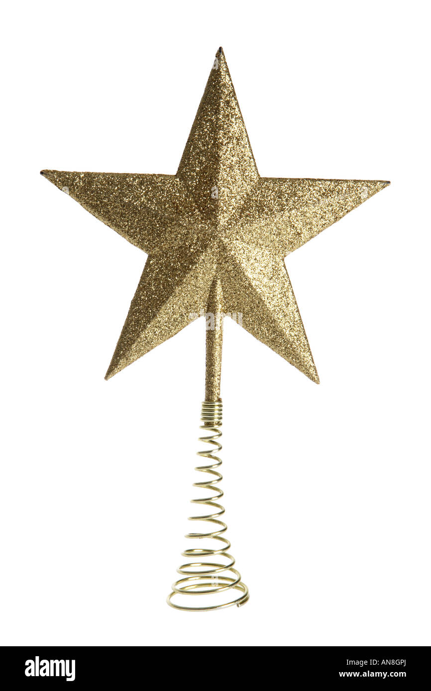 Gold star Christmas tree topper ornament cut out on white ...