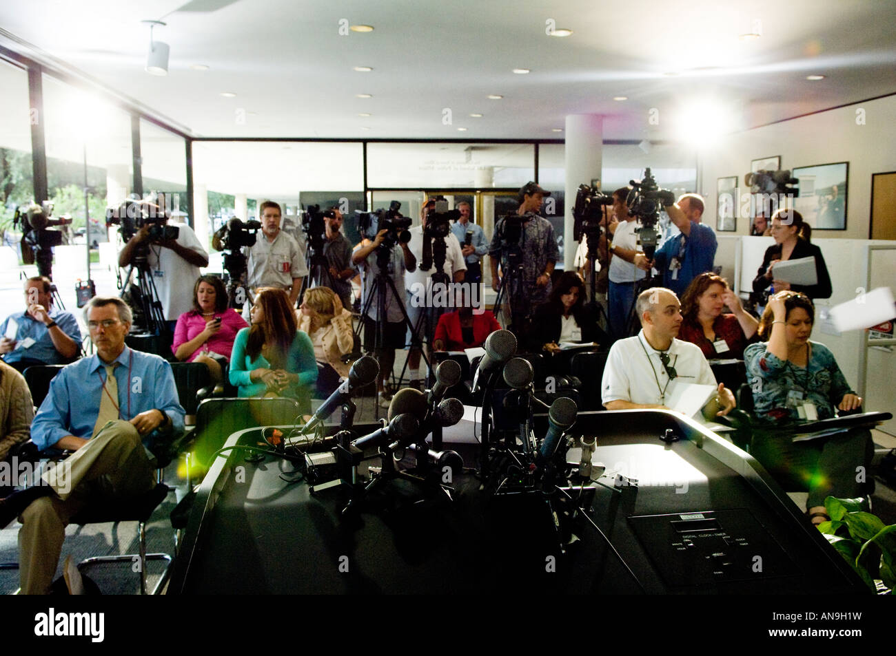 Room full of Reporters Waiting for a Press Conference ...